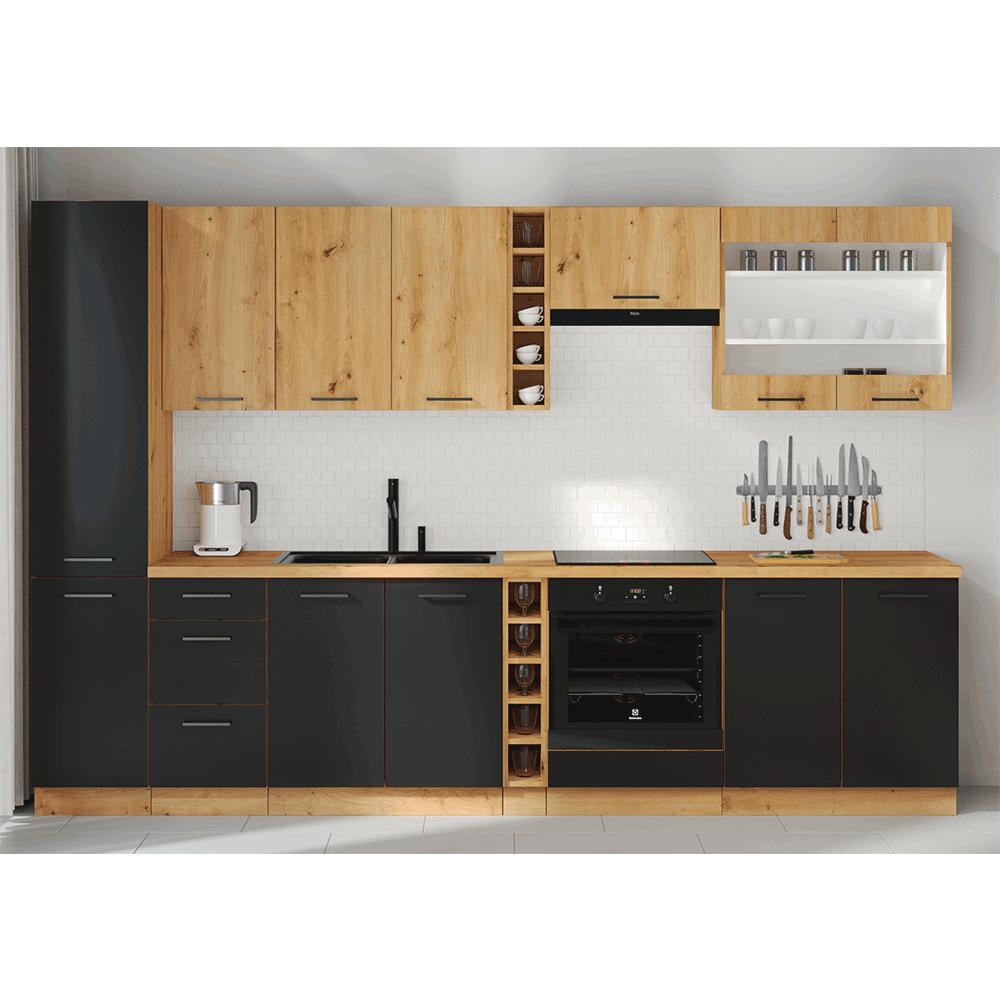 Ajtók mosogatógéphez, matt fekete/artisan tölgy, MONRO ZM 713x596