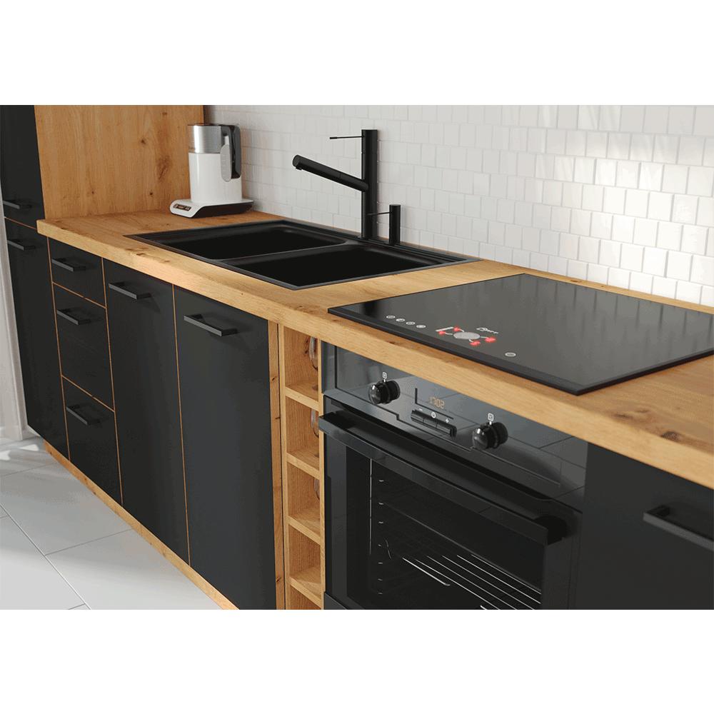 Élelmiszer szekrény, matt fekete/artisan tölgy, MONRO 60 DK-210 2F