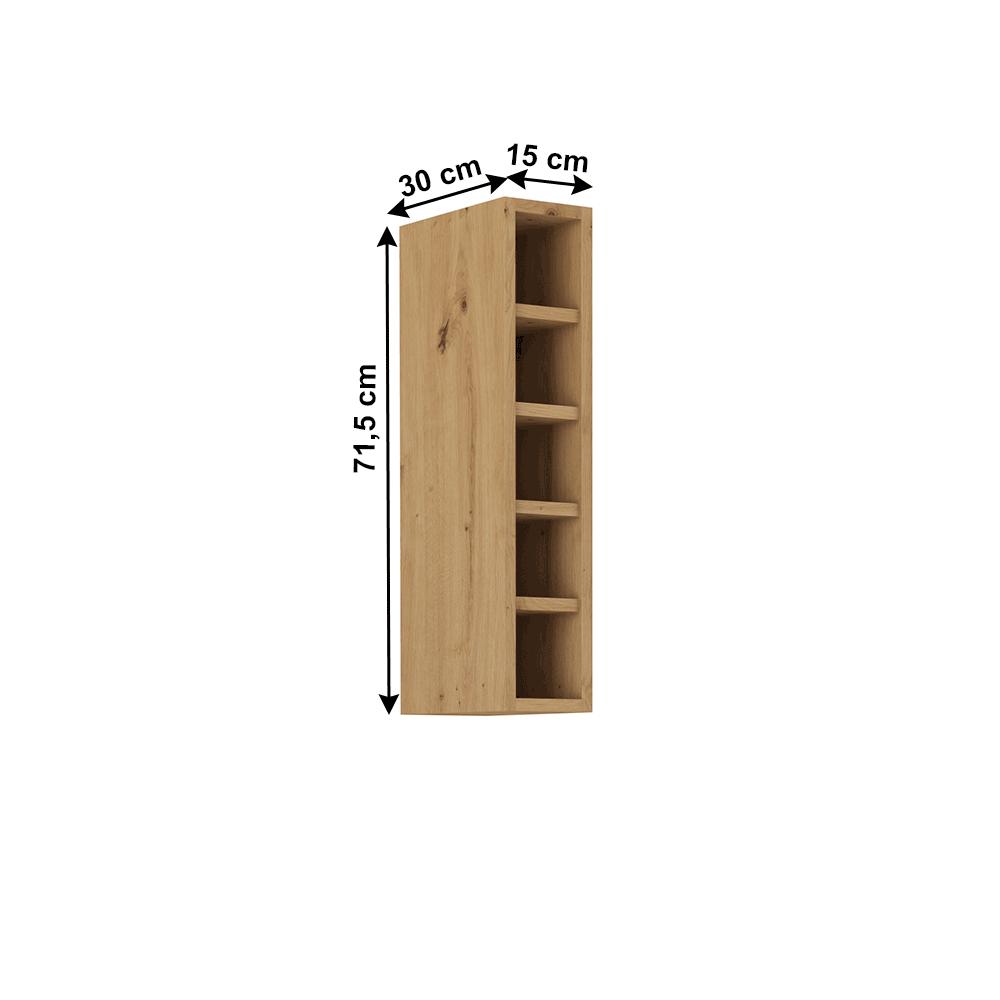 Felső nyitott szekrény, artisan tölgy, MONRO 15 G-72 OTW