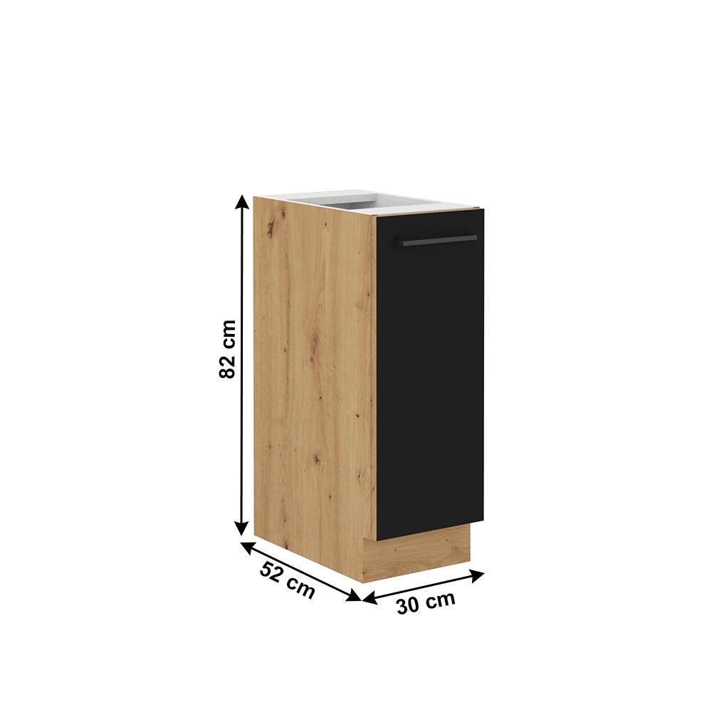 Alsó szekrény fém kosárral, matt fekete/artisan tölgy, MONRO 30 D CARGO