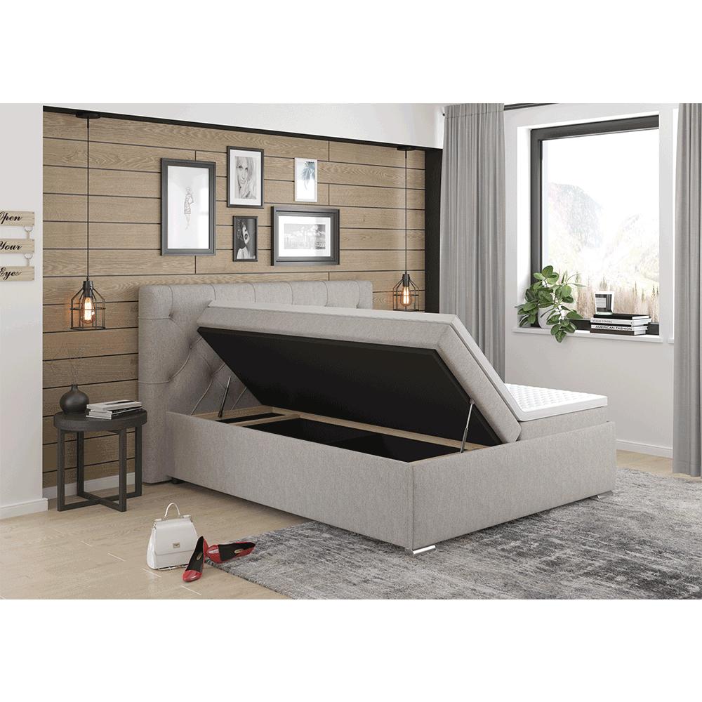 Boxspring ágy 160x200, szürkésbarna Taupe, MORINA