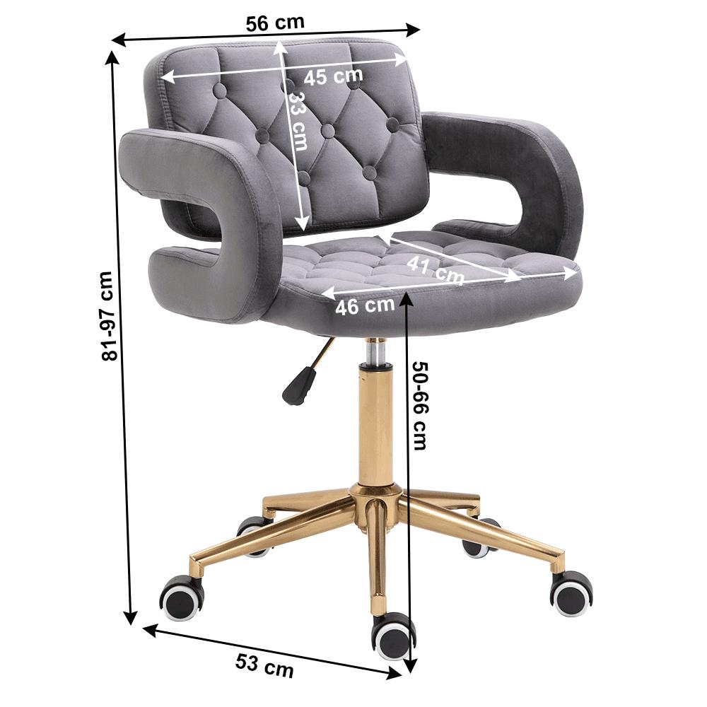 Irodai szék, Velvet szövet világosszürke/arany, NELIA