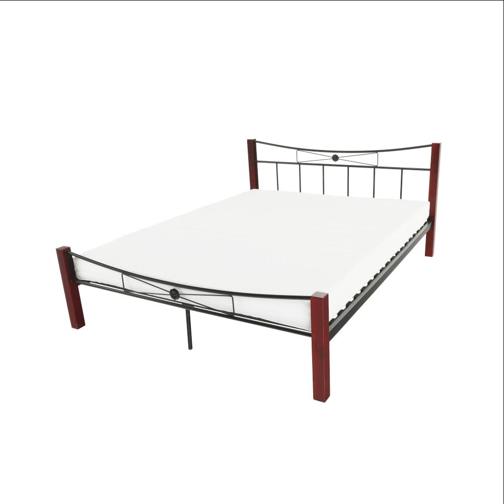 Fém ágy, fém (fekete) + diófa, 160x200, PAULA