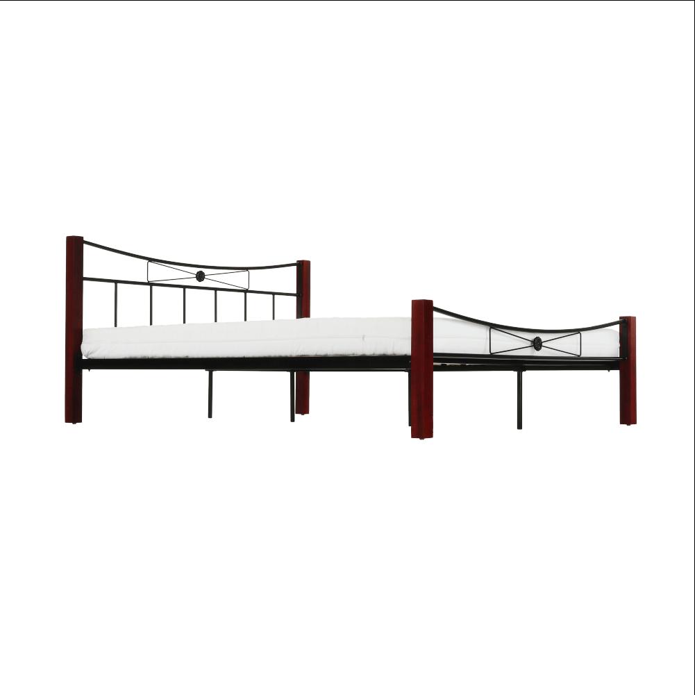 Fém ágy fém (fekete) + diófa, 140x200, PAULA
