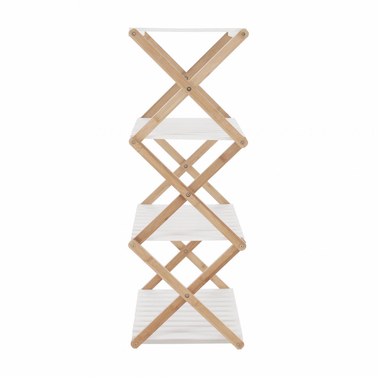 4 polcos állvány, természetes bambusz/fehér, PEORIA TYP 3