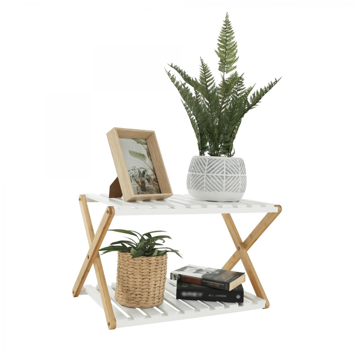 2 polcos állvány, természetes bambusz/fehér, PEORIA TYP 1