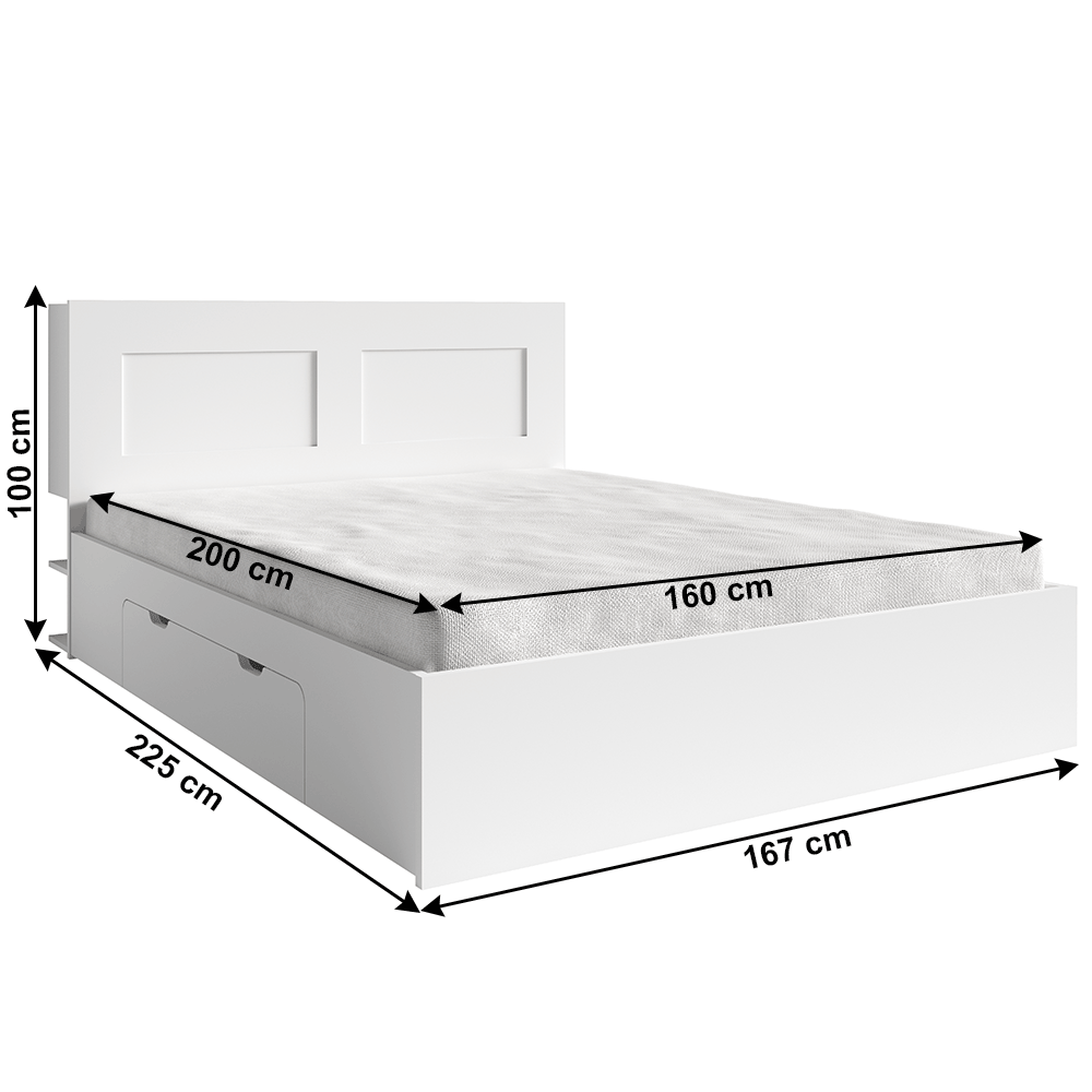 Franciaágy 160x200cm, fehér, RAMIAK