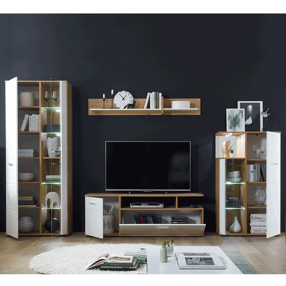 Nappali fal/szekrénysor, fehér magasfényű HG/artisan tölgy, REVEL