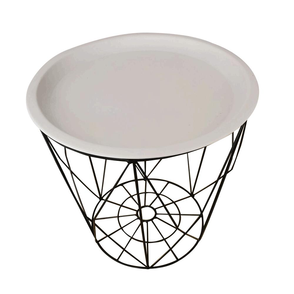 Kisasztal, fehér/fekete, SALERO NEW