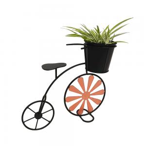 Kerékpár alakú RETRO virágcserép, bordó/fekete, SEMIL