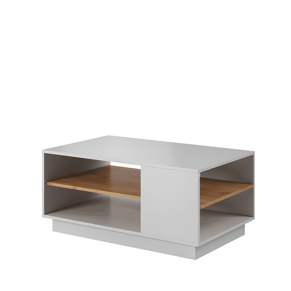 Dohányzóasztal, fehér/tölgy craft arany, TRIO